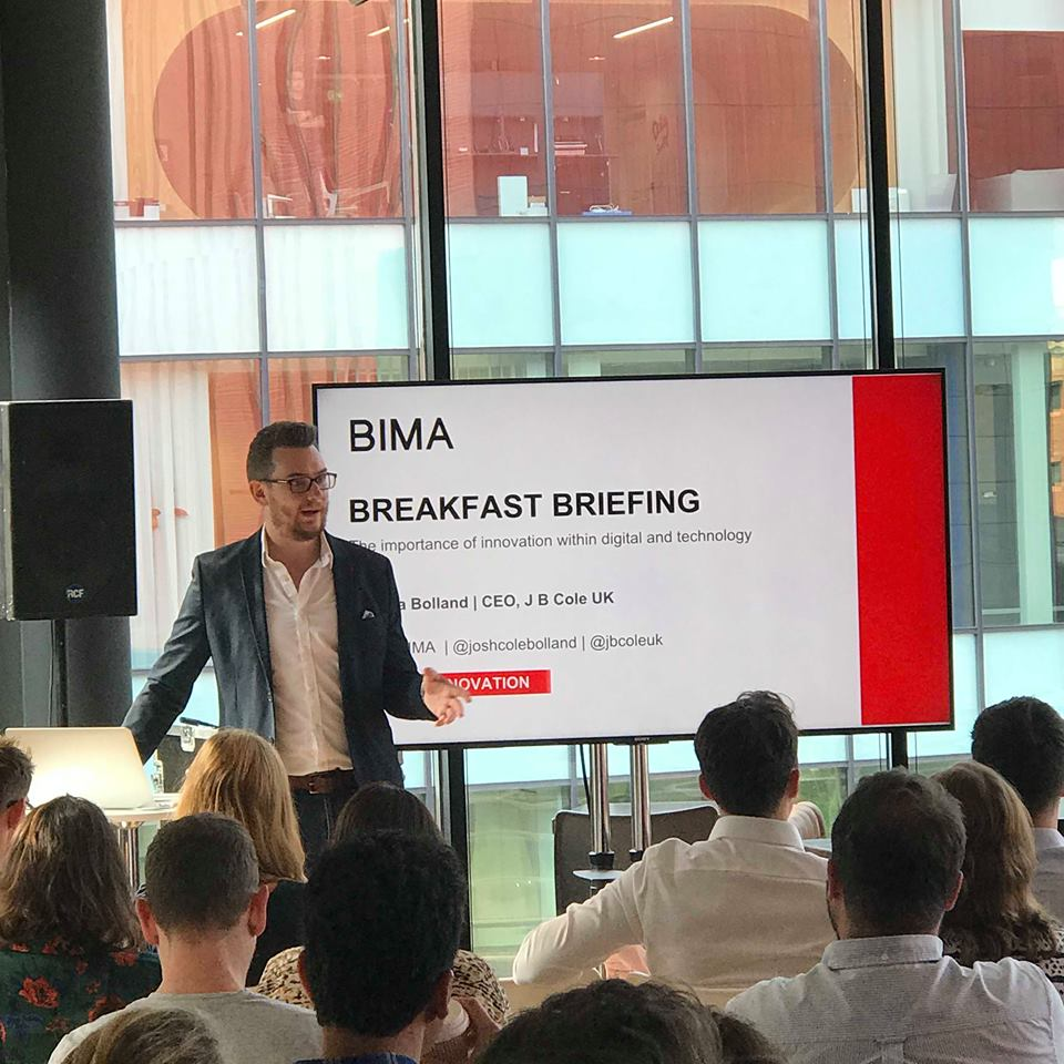 Josh Bolland, CEO of J B Cole, welcomes attendees to the BIMA Breakfast Briefing